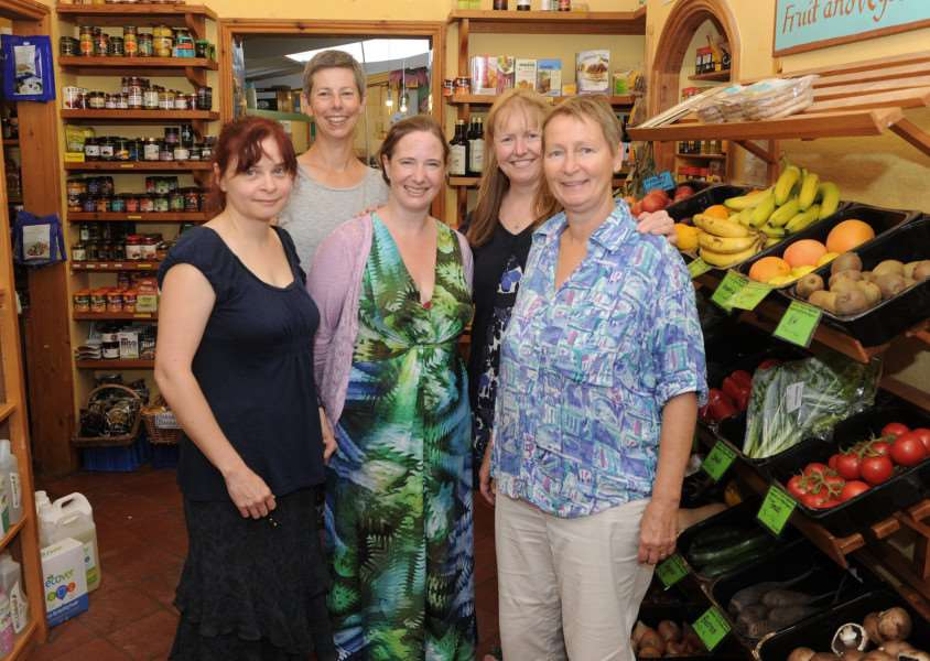 Natural Foodstore has reached its �10,000 target to make itself into a worker run cooperative. ''Pictured: Rebecca Everall, Monique Greyson, Suzanne Breeze, Faye Jackson and Marian Meiracker (Current Owner)'''PICTURE: Mecha Morton