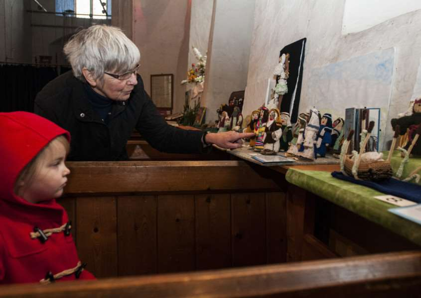 Jenny Vere and others have created over 50 bible scenes out of knitted figures and props to be displayed in St Nicholas Church, North Lopham. Anne Wood + gran daughter Rosie
