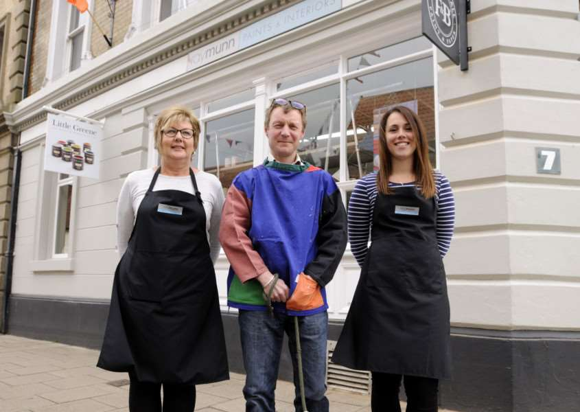 Paints and interiors shop opening in Harleston. From left Andrea Manning, Ben Sturges and Amy Tuffs.
