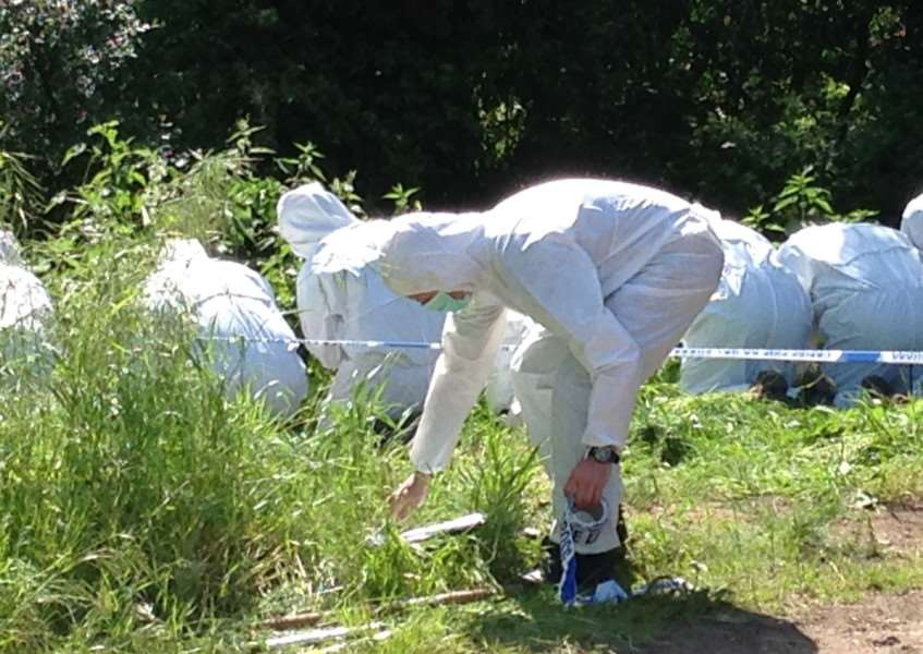 Police officers in forensic gear carrying out finger tip searches in woodland behind Peter and Sylvia Stuart's house.