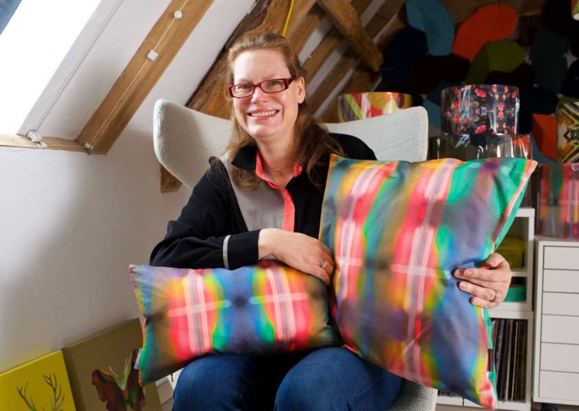 Sarah Parris with some of her pioneering print designs. ''Picture: Mark Bullimore Photography