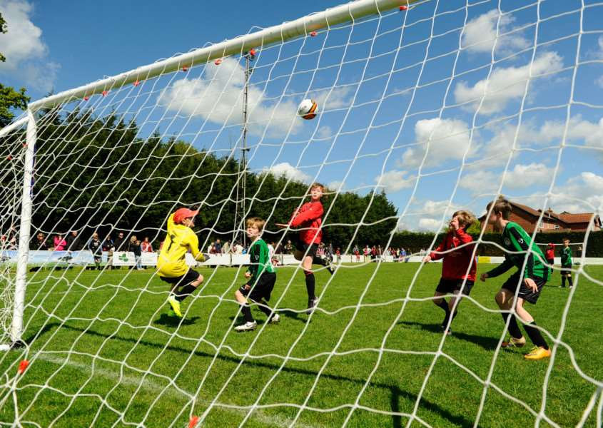 Diss Town Youth FC 6 A Side Tournament at Brewers Green Lane. Laxfield v Long Stratton Under 10s. ENGANL00220120514143829