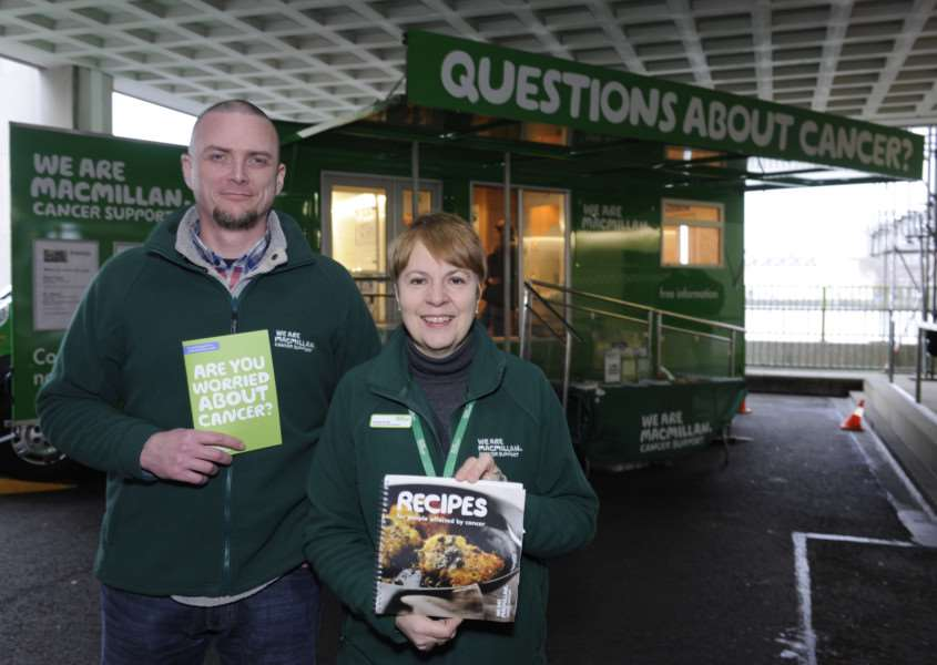 'From left Andy Sutcliffe (Facilities Officer) and Martina Mc Gill (Information Specialist), with the Macmillan Mobile Information Bus. 'Photography by Joe D Miles. ANL-160527-110323001