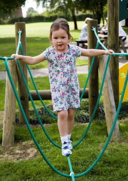 Debenham, Suffolk. Following a successful application to the Big Lottery Fund, a new play area and trim trail is officially opening in Debenham at the Leisure Centre. Pictured is Harriet Connors.''Picture: MARK BULLIMORE