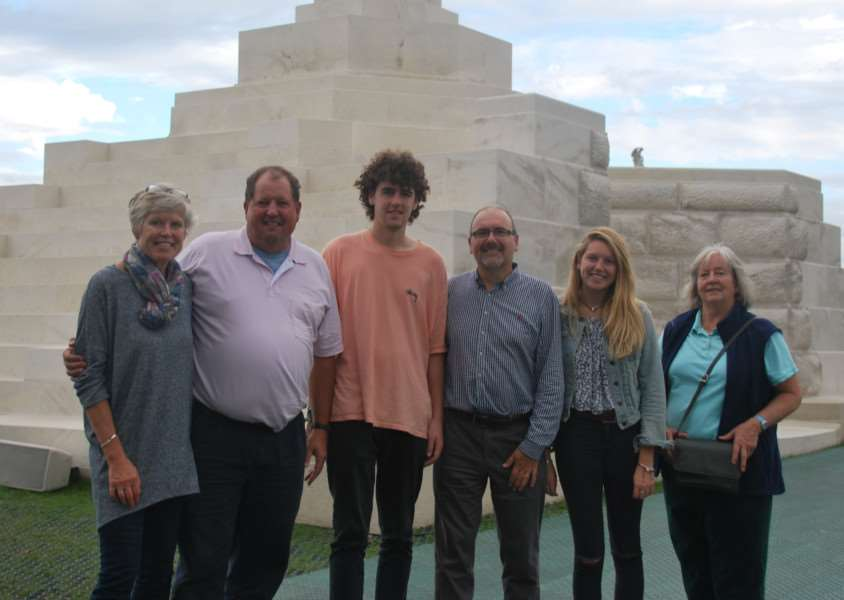 Ginny White, Martin White, James White, John Bensted-Smith, Bex White and Rosanna Bensted-Smith at Tyne Cot before the service (left to right).