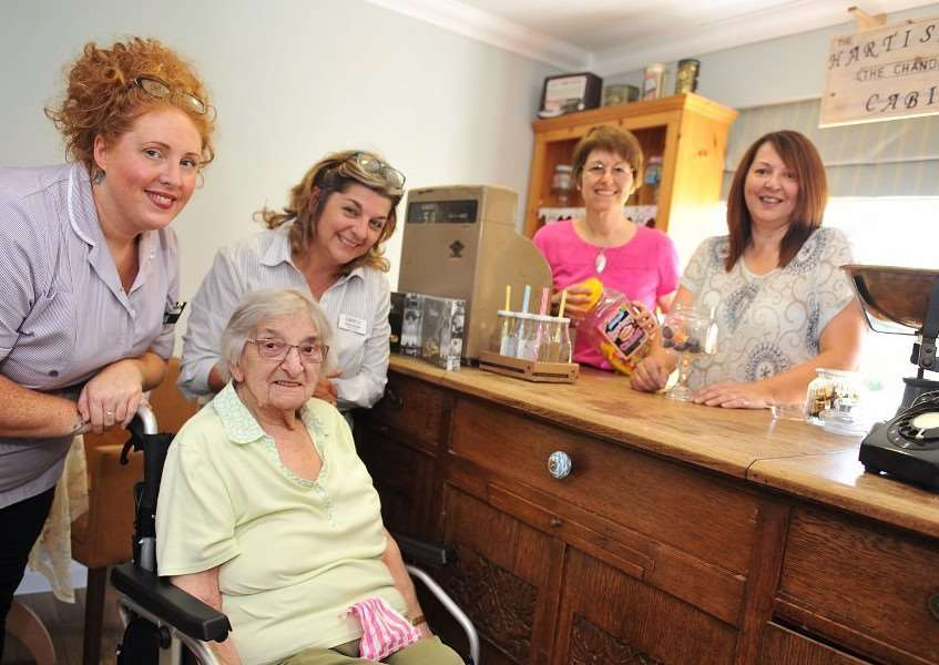 Residents, staff and visitors at Hartismere Place Care Uk care home, home celebrate the opening of their new shop. Emma Smith, Claire Jacobs, Angela Hodge, Lorraine Precey and Barbara Caller. Picture: Lucy Taylor.