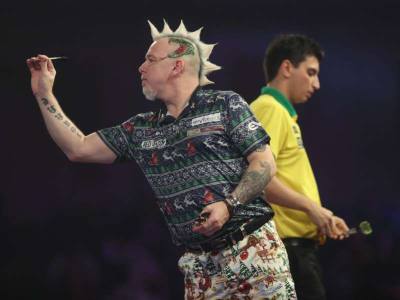 ON FORM: Peter Wright in action at Alexandra Palace Picture: Lawrence Lustig/PDC