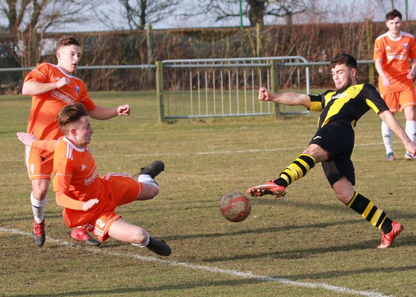 AT THE DOUBLE: Tanner Call bagged a brace for Debenham