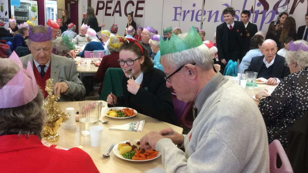 Archbishop Sancroft High School students have spread some Christmas cheer to their community with an annual festive dinner for older residents. ANL-161219-142650001