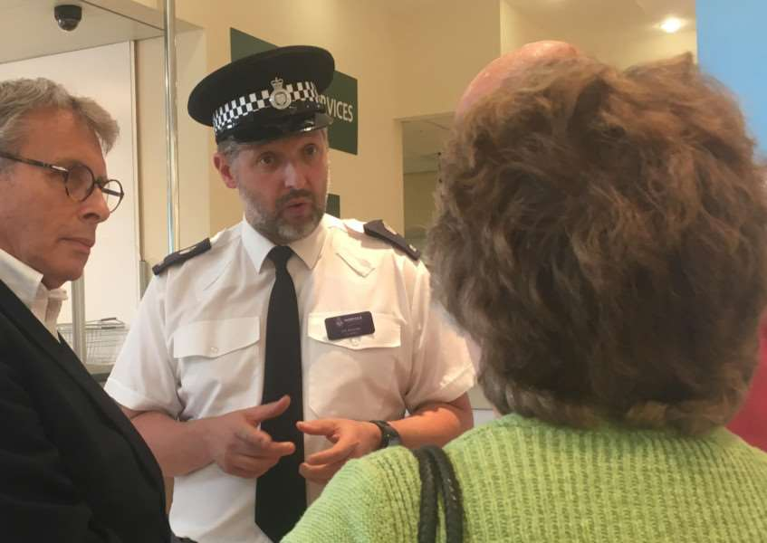 PCC Lorne Green and PC Jim Squires at a surgery at Morrisons in Diss.