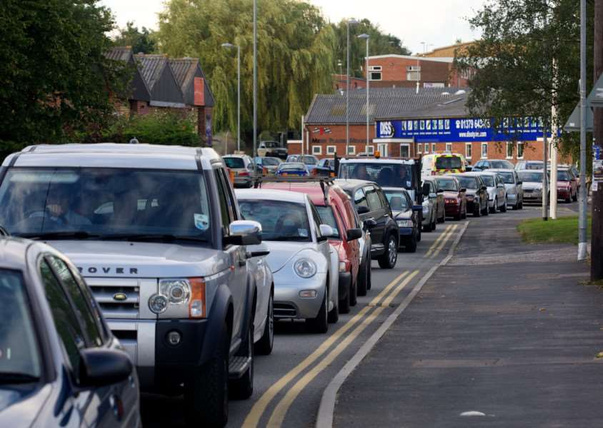 Traffic congestion on Vinces Road. Picture: Mark Bullimore