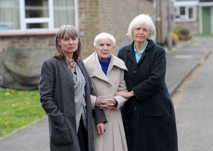 Sheltered housing residents in Tacon Close, Eye, are concerned their services may be cut by Mid Suffolk District Council.''Pictured: Suzanne Watson with Mother resident Florence Watson and Town Councillor Caroline Byles ANL-161123-164618009