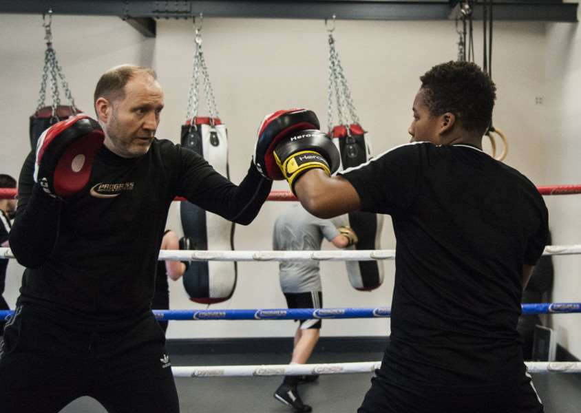 Progress Boxing & Fitness Ltd, Eye. Fareth Edwards and Billy Elwood are putting on the first boxing show at the Corn Hall for 35 years. Here they train the boxers.