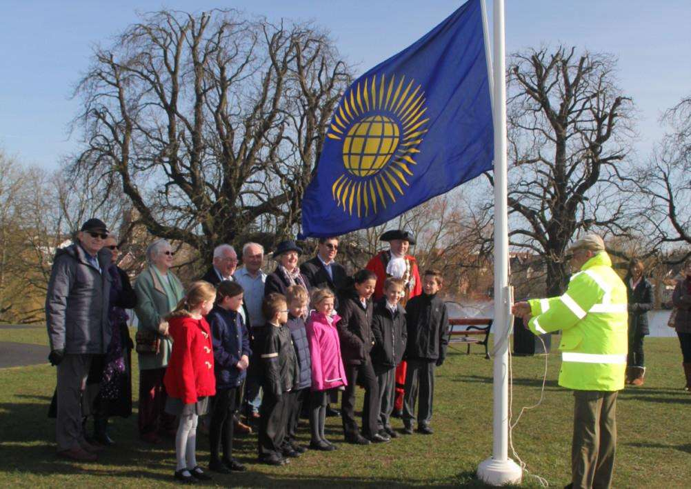 People gathered in Diss Park on Tuesday for a flag raising event to celebrate Commonwealth Day. ANL-151003-150356001