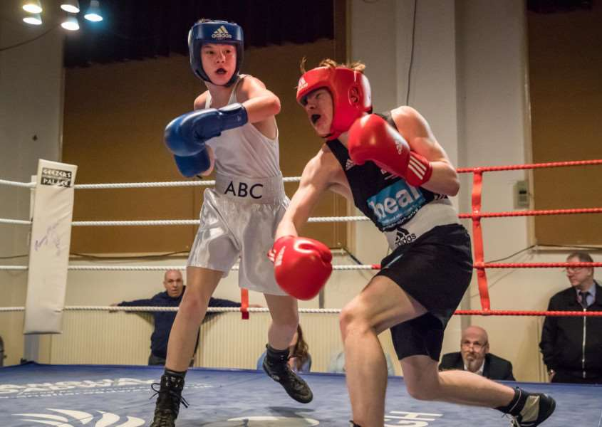 TOP NIGHT: Lewis Bolingbroke produced a standout performance for Attleborough Boxing Club at their home show. Picture: Paul Tebbutt