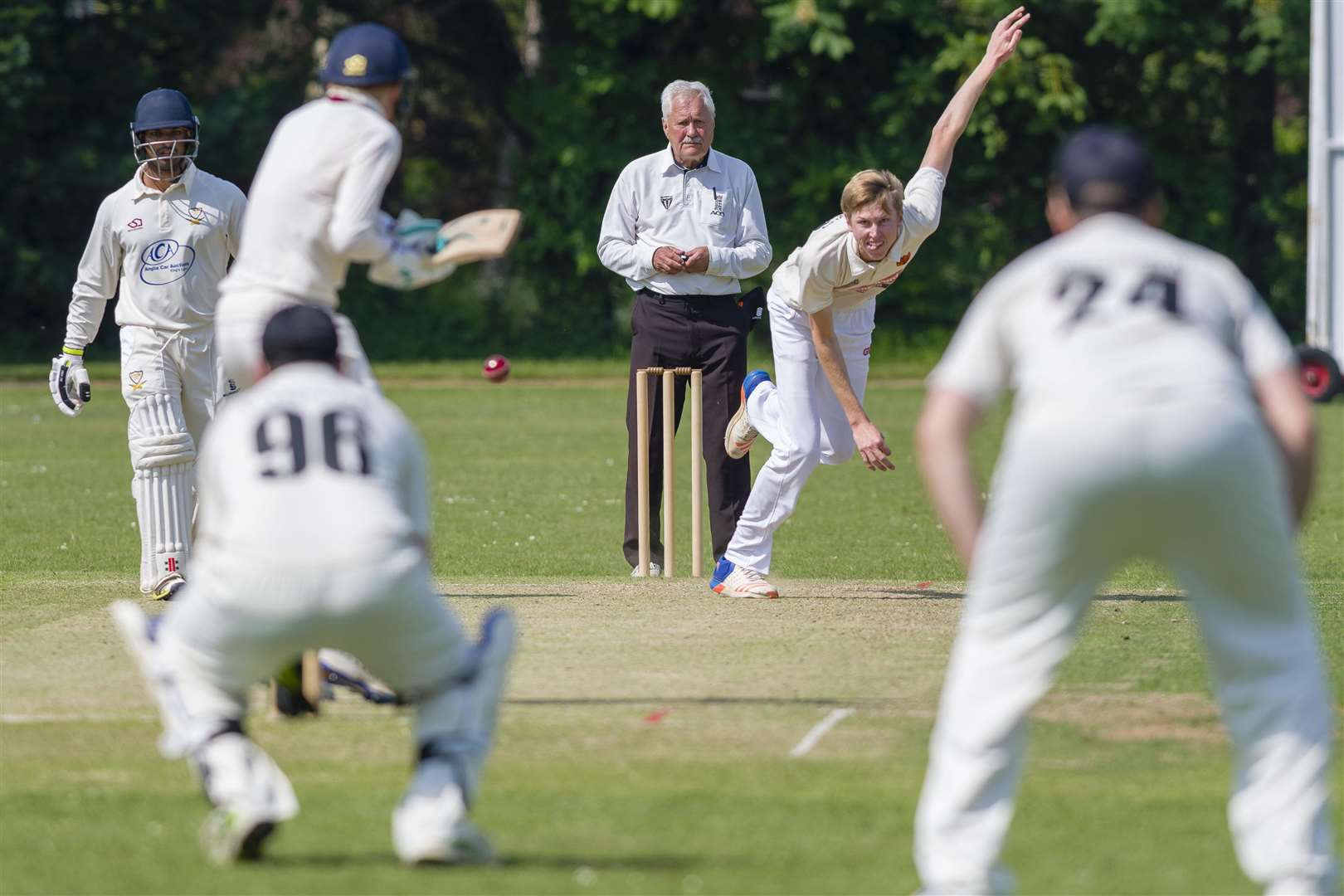Diss, Norfolk. Cricket action from Diss vs Stow - Diss Bowling - Eli Meenhorst...Picture: Mark Bullimore Photography. (2239315)