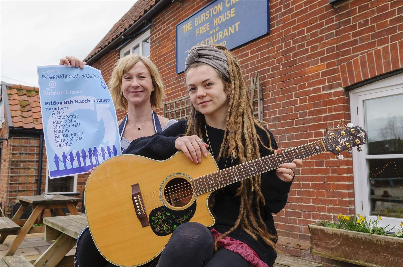 Bev Kembery of the Burston Crown and local artist Tangles who'll be performing at a Internation Women's Day event at the pub. ..Picture: Mark Bullimore Photography.
