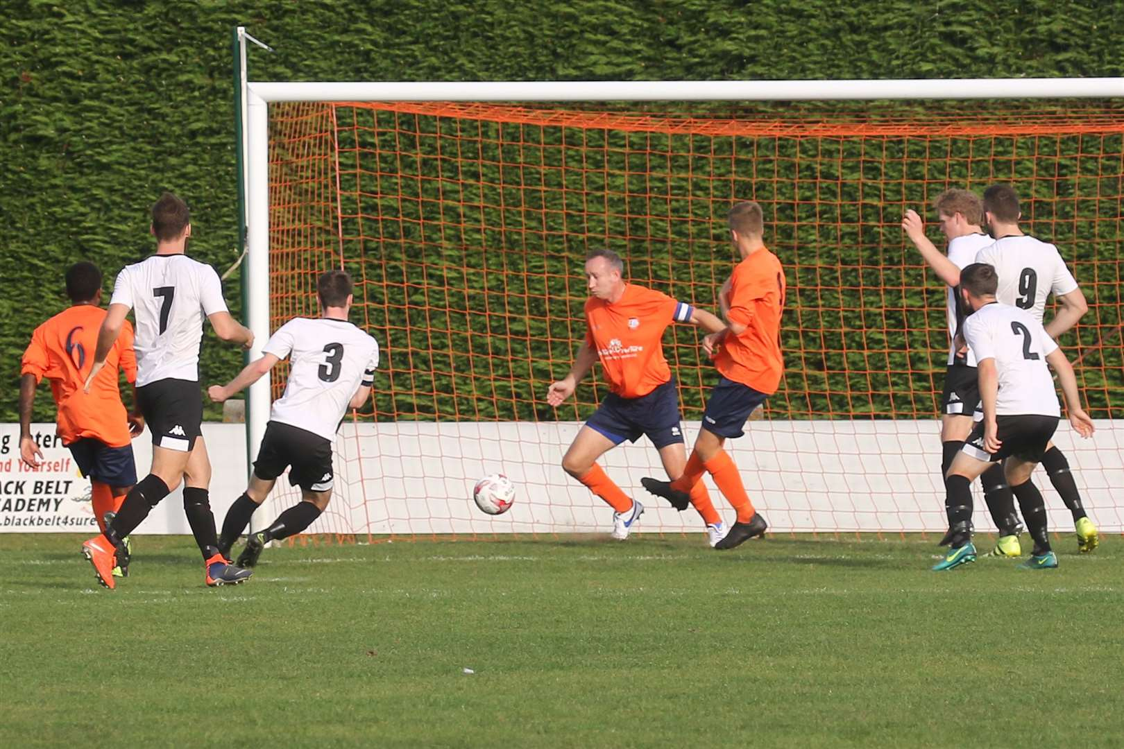 MDEP-12-10-2018-001 sp Harleston Captain No 3 Jake Imrie fires home to score the winning goal.. (13068001)