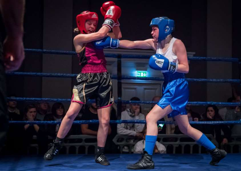 CLEAN SHOT: Attleborough's Lydia Nagle lands a punch on her way to victory. Picture: Paul Tebbutt