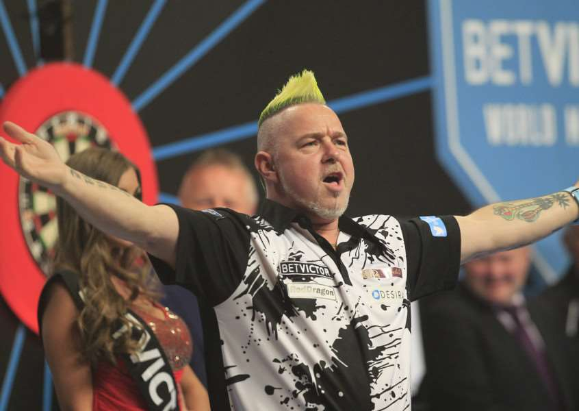 BETVICTOR WORLD MATCHPLAY 2015'WINTER GARDENS,BLACKPOOL'PIC;LAWRENCE LUSTIG'ROUND 2'PETER WRIGHT V ANDREW GILDING'PETER WRIGHT IN ACTION