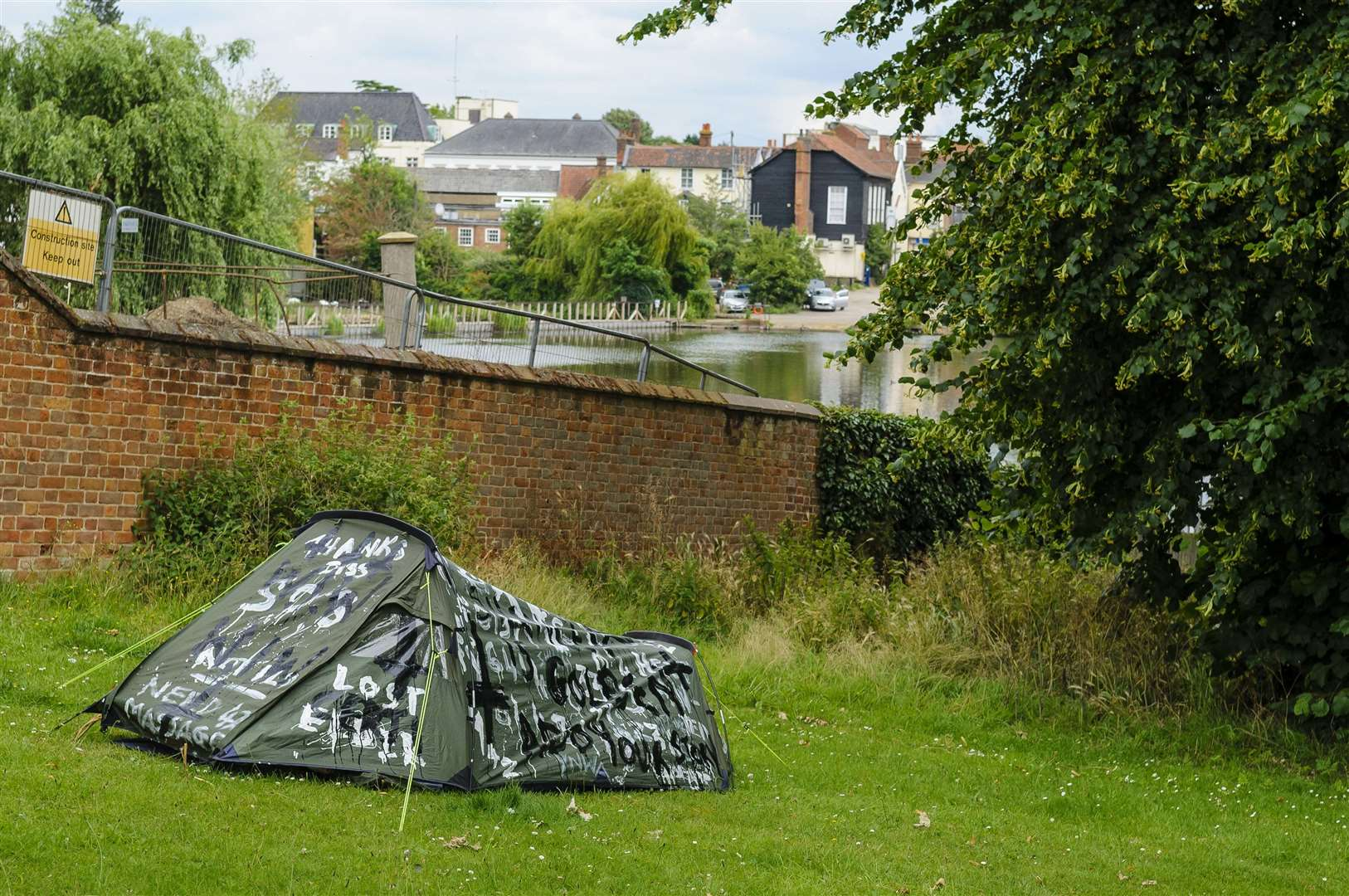 The tent has been pitched up in Diss Park Picture: Mark Bullimore Photography