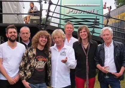 James Ready (third left) and Chris Ready (second right) pictured with Status Quo. Submitted photo.