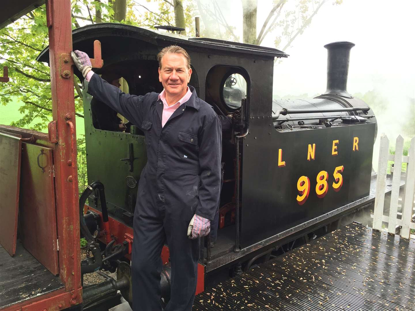 Michael Portillo visiting the Mid-Suffolk Light Railway in 2018.