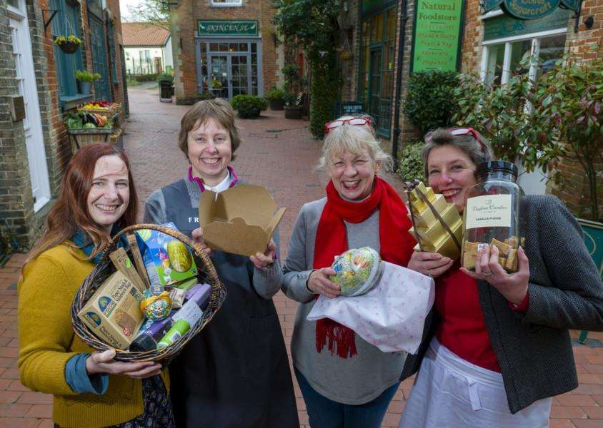 Diss, Norfolk. Pictured are four of the five traders in Norfolk House Yard, Diss have decided to go for Plastic Free Status. From left Suzanne Breeze of the Natural Foodstore, Juliette Atkinson of Fredrick Fine Foods, Geradline Leeder of Skincense and Clare Webb of the Sweetie Shop. ''Picture: Mark Bullimore Photography