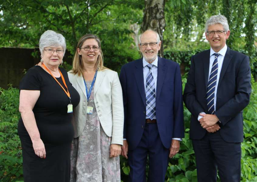 Chairs of governors and headteachers from Harleston Church of England School and Archbishop Sancroft High School. From left: Anne Epps, Lisa Blowfield, Alan Thorp and Richard Cranmer.