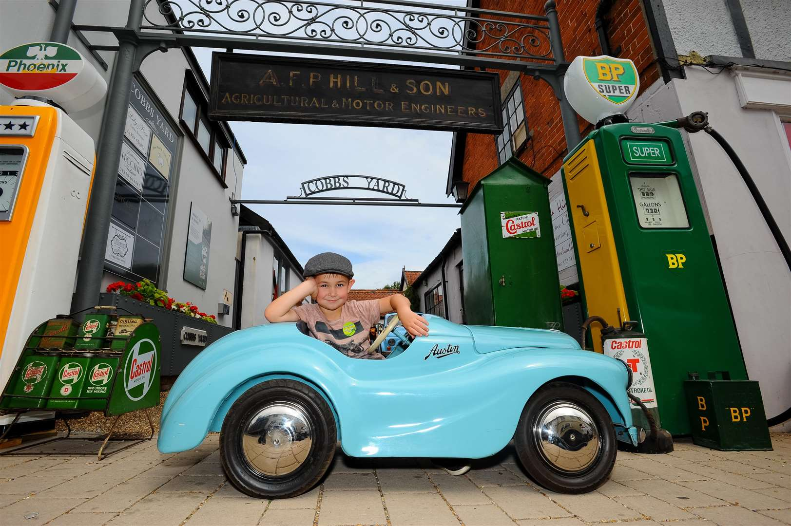 Joshua Vincent with Austin J40 pedal car from the 1960's. ..Picture by Mark Bullimore Photography.