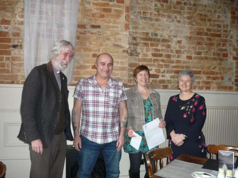 Left to right, Rev Canon Stephen Wright, Ricky, Sarah Dye, and Jan Sheldon. Submitted picture.