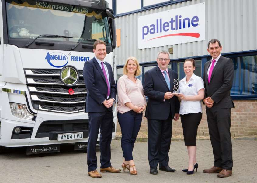 Photo of Graham Leitch, MD of Palletline, presenting Service Award to Anglia Freight team. From left to right, Douglas Shawcross (Managing Dirtector), Abby Holden (HR Director), Graham Leitch (MD, Palletline), Stacey Marcks (Network Compliance Manager), Pete Holden (Network Director). PICTURE: James Crockford.