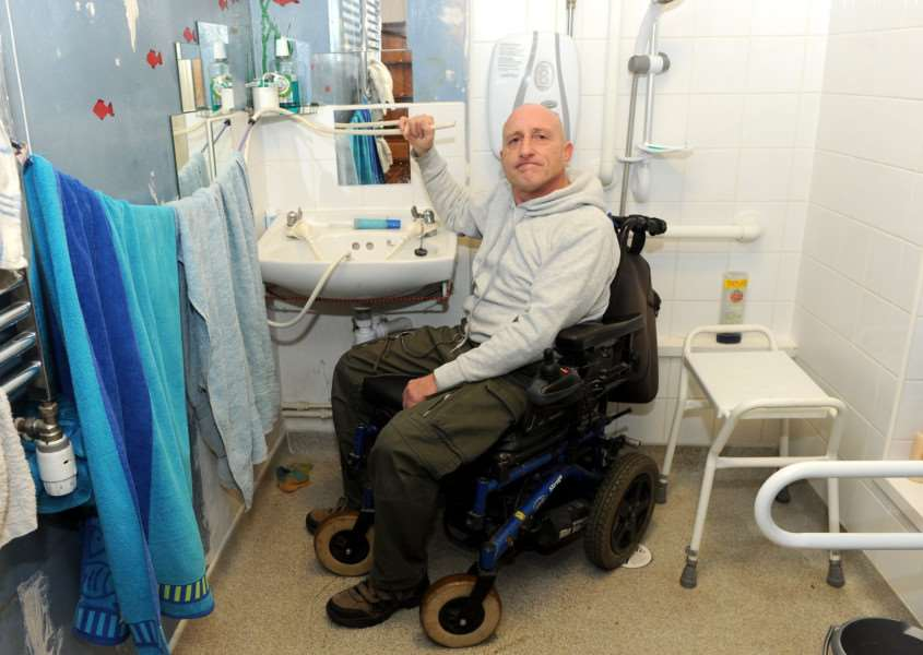 Ian Holt, who is wheelchair bound, has criticized Flagship Homes for not carrying out improvements to make his house fit for someone with disabilities. '''''PICTURE: Mecha Morton