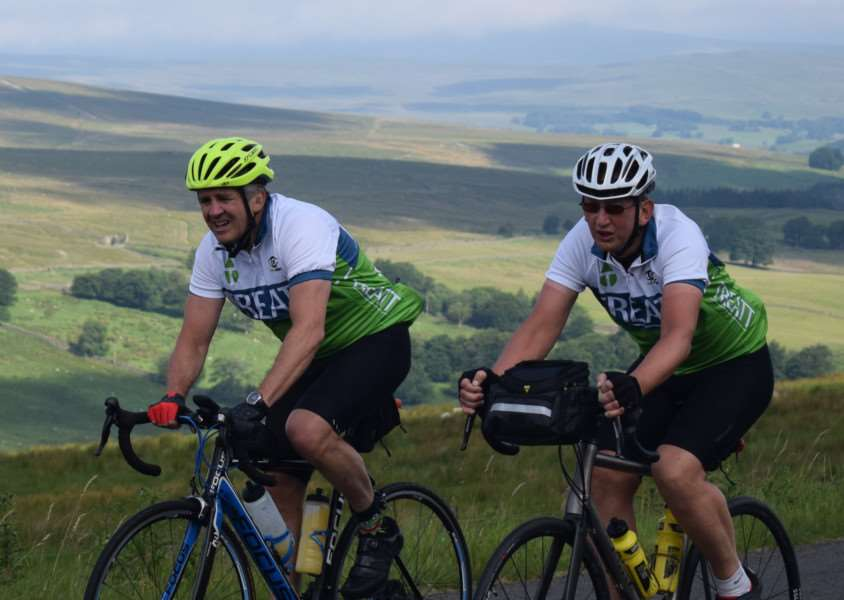 Treatt colleagues Barry Kirby (left) and Ken Ferguson will take part in the gruelling LEL on July 30 - a cycle ride from London to Edinburgh and back again, spanning nearly 900 miles. Submitted photo.