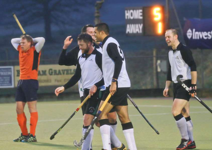 ANOTHER WIN: Already-promoted Harleston Magpies Men's II celebrate scoring a goal during Saturday's 6-1 win against Bury St Edmunds (Picture: Gary Donnison)