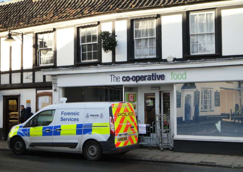 A forensics van outside the Harleston Co-operative Food store on Wednesday, December 30. Photo: Karen Slade. ANL-151230-162029001