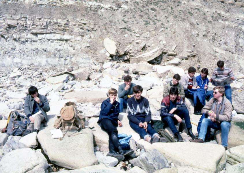 Diss High School sixth-form school trip to Dorset, April 1984. Photo submitted by Peter Perkins.