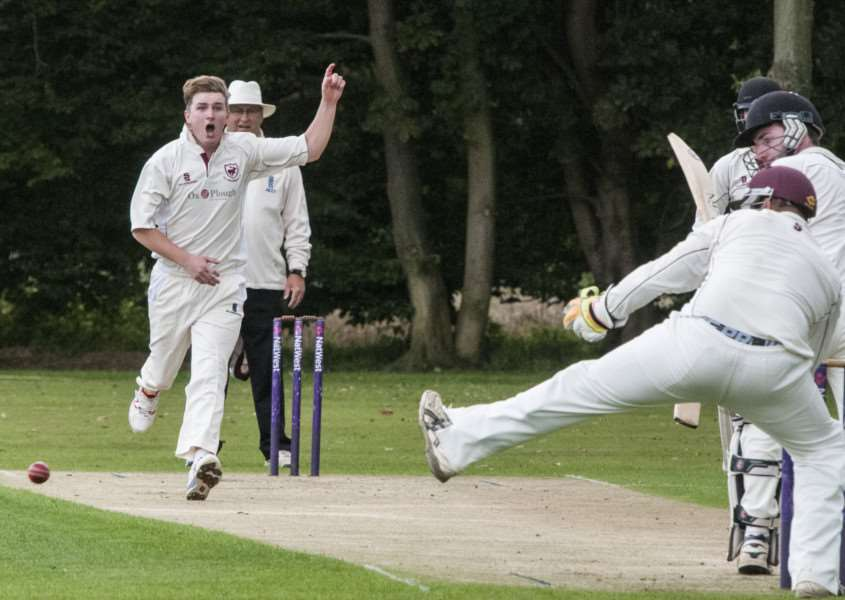 SEARCHING FOR WICKETS: Jack Grant pictured bowling for Old Buckenham during their 16-run defeat away at Garboldisham at the weekend