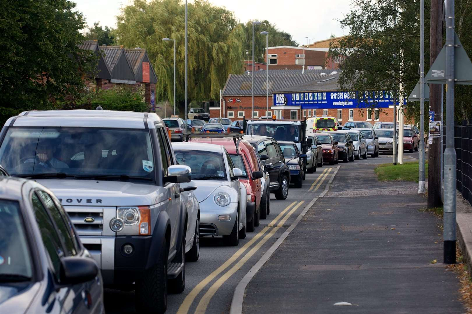 Diss, Norfolk. Traffic Congestion on Vinces Road.