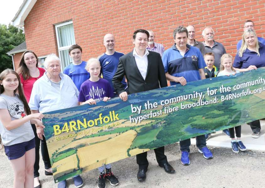MDEP-08-07-2017-007 Michael Davey and David Evans of B4RNorfolk with members of the Tivetshall community