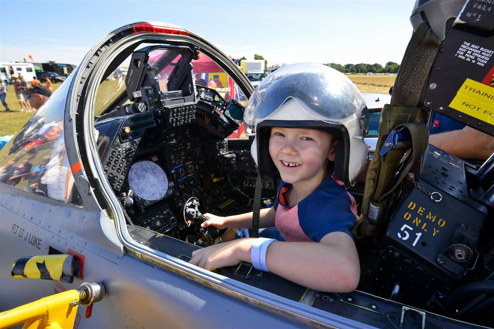 Old Buckenham, Norfolk. 28 July 2018 ..Old Buckenham Airshow, Jack Taylor in a cockpit of a Jaguar jet plane of the Sprit of Coltishall Association...Picture by Mark Bullimore Photography. (3322368)