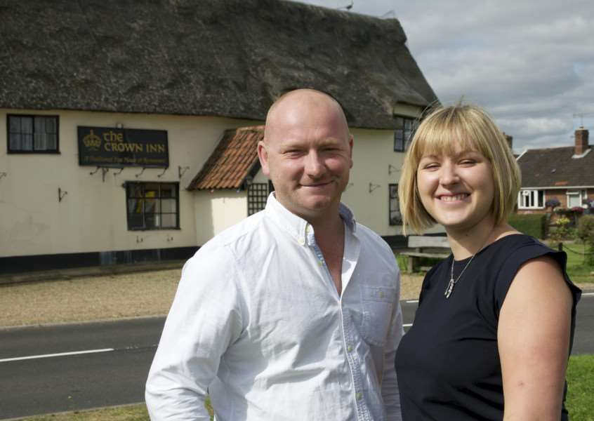 Pulham Market, Norfolk. Landlords of the Crown Inn in Pulham Market, Jon Bingham and Amy Beevers ANL-140730-152805001