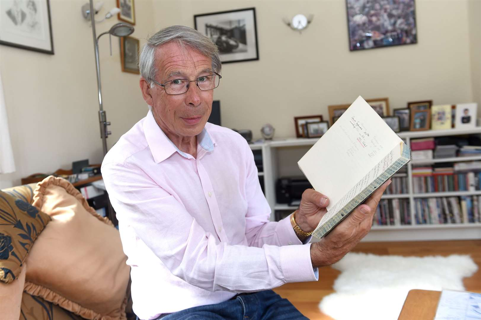 David Hyde, chair of Hoxne Heritage Group with the WWII diary. PICTURE: Mecha Morton