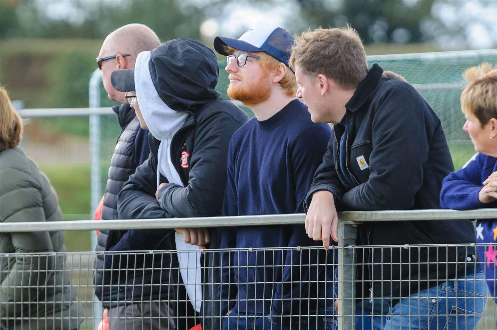 Ed Sheeran amongst the fans of the Harleston Magpies Ladies 1st team. Picture by Mark Bullimore.