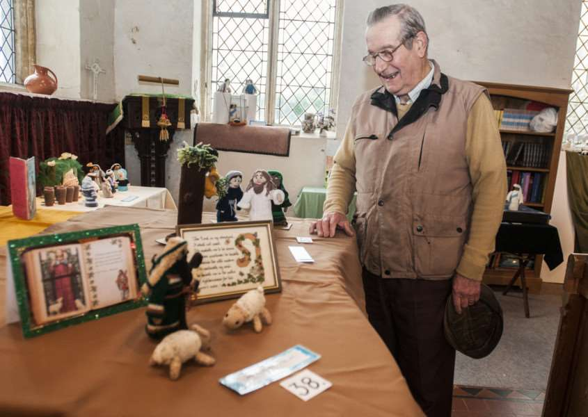 Jenny Vere and others have created over 50 bible scenes out of knitted figures and props to be displayed in St Nicholas Church, North Lopham. Richard Vere