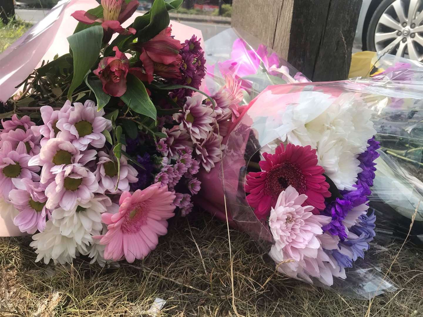 Floral tributes were left at the scene.