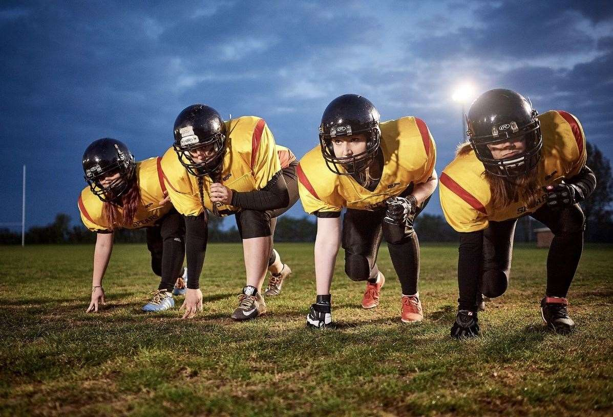 Iceni Spears, Norwich-based American Football team. Victoria Ware (second from left) from Walsham-le-Willows has been called up to GB team for August 2019 European Championships in American Football, which will be in the UK for the first ever time. Picture: Mike Harrington (must credit, image similar but not the same as exclusive Getty Image) (14515817)