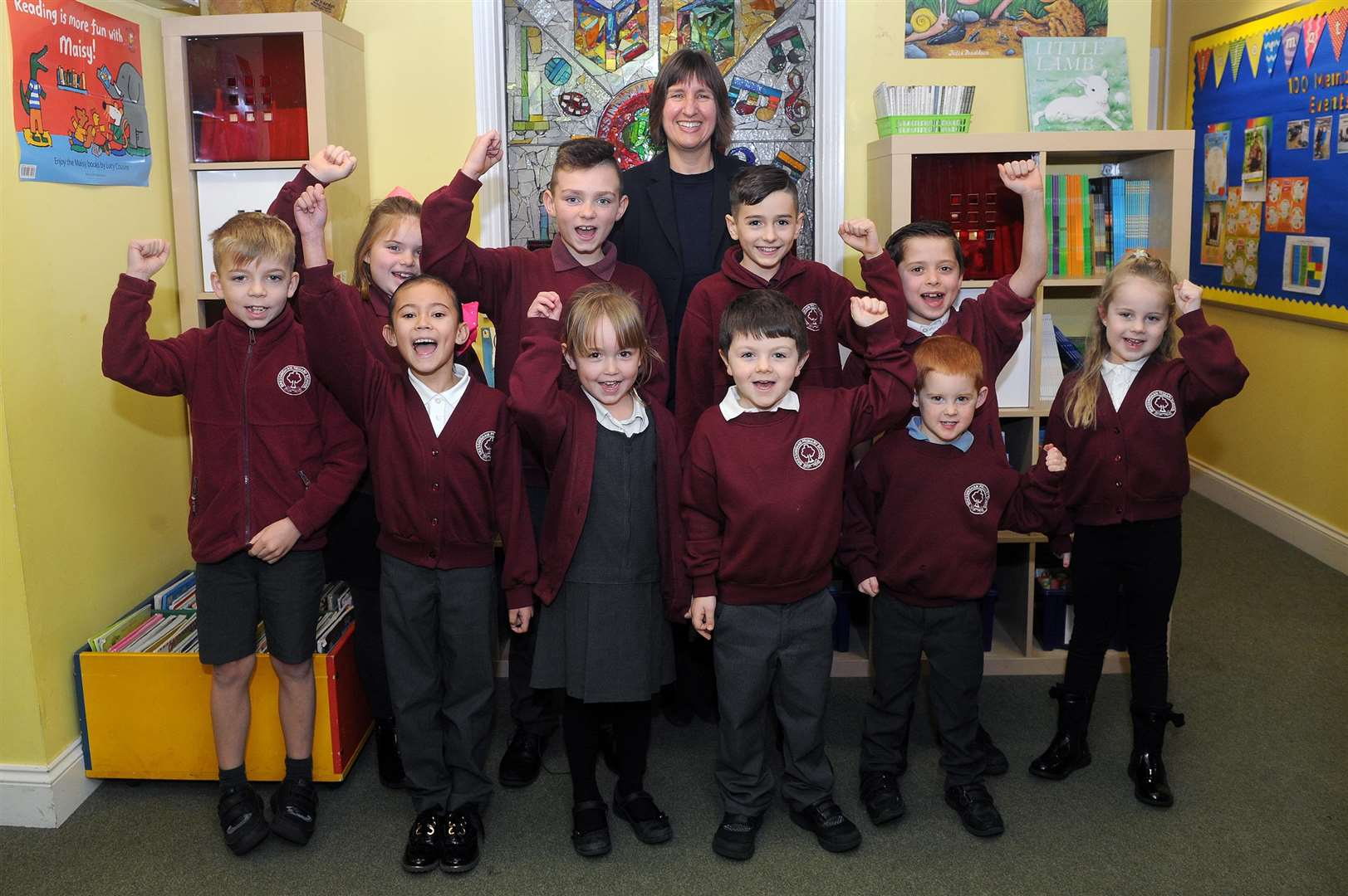 CELEBRATING: Children and staff at Bressingham Primary School are happy about the latest Ofsted report. Picture by Mecha Morton.