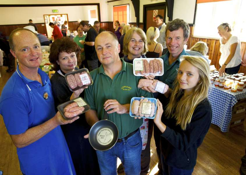 Lopham, Norfolk. Super Sausage Saturday at North Lopham Farmers Market from left Jason Salisbury, Karen Nethercott, Mike Shipperlee, Sara Denny, Richard Nunn and Hollie Hunter ENGANL00120130930105206