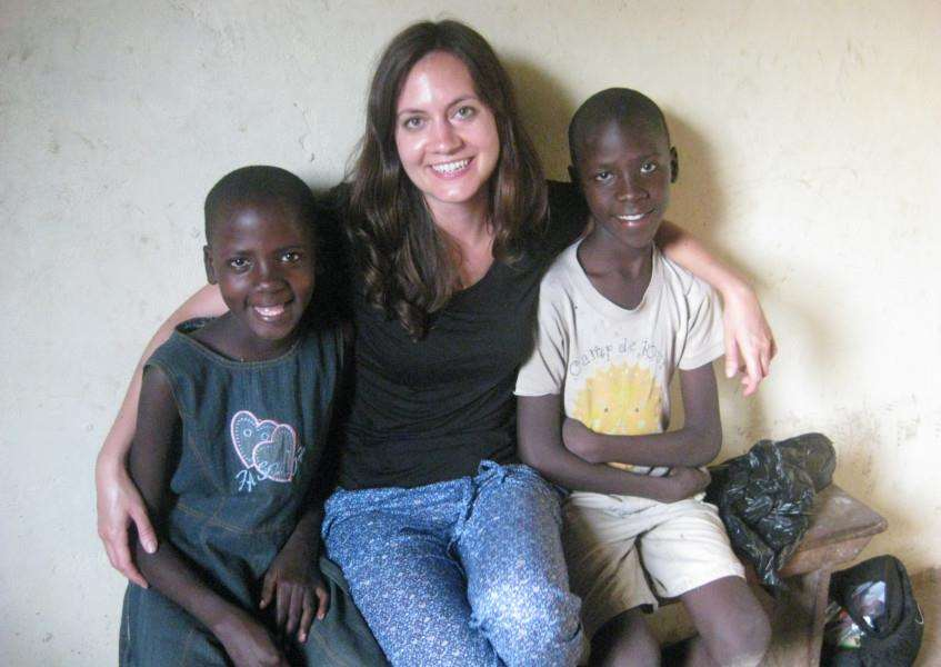 Emma Poppenborg, who established the Wagobera charity, supports children in Uganda, and is pictured with twins Stella (left) and Ben (right), pictured in 2014.